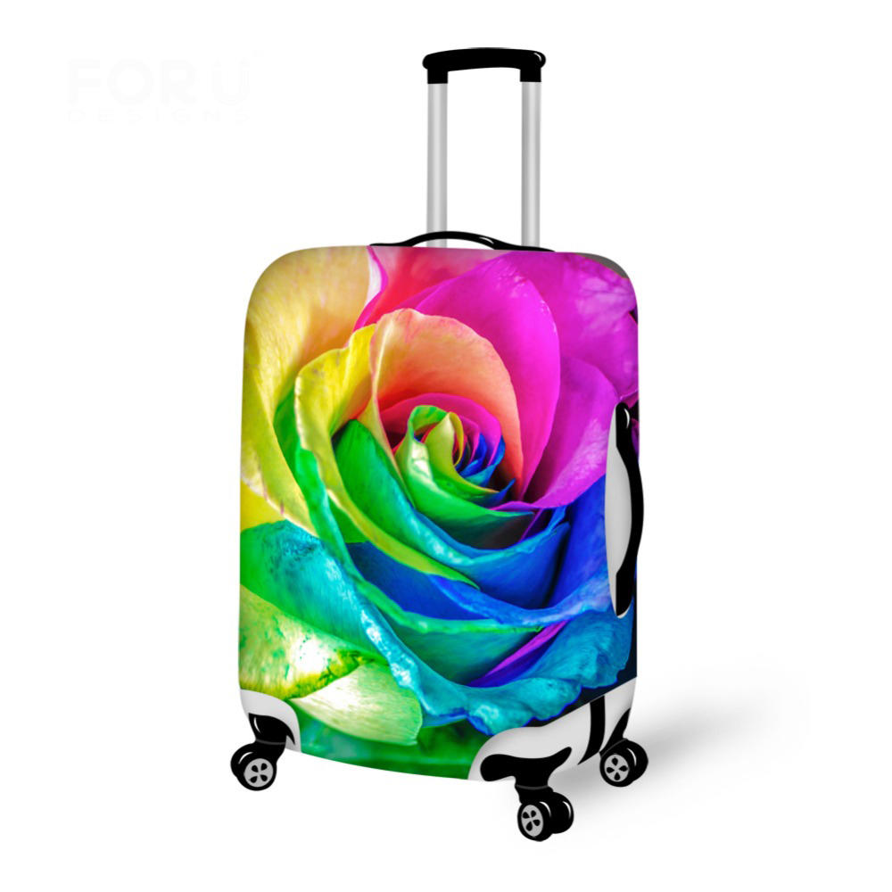 Elastic Luggage Protective Covers For 18-30 Inch Trolley Case Flower Rose Print Thick Dust Proof Suitcase Rain Cover