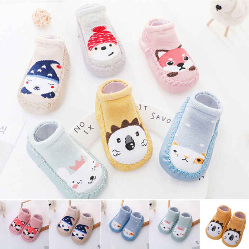 2019 New Fashion Kids Cartoon Socks Baby Girl Toddler Anti-slip Sock Shoes Boot Floor Slipper Soft First Walkers Soft Sneaker