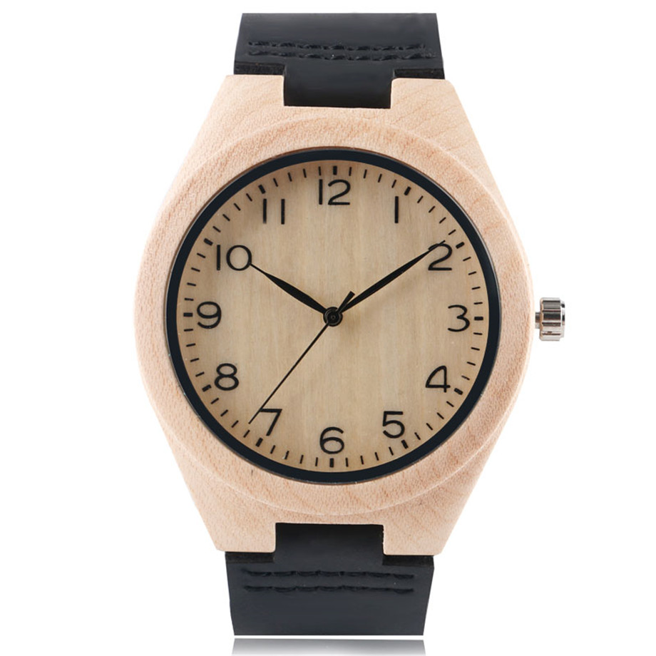 Classic Men Women Bamboo Watch Simple Arabic Number Dials Analog Genuine Leather Strap Casual Male Female Wood Wristwatch Clock hand made mens wooden bamboo quartz watch black genuine leather watchband simple unique modern wristwatch gift for male female