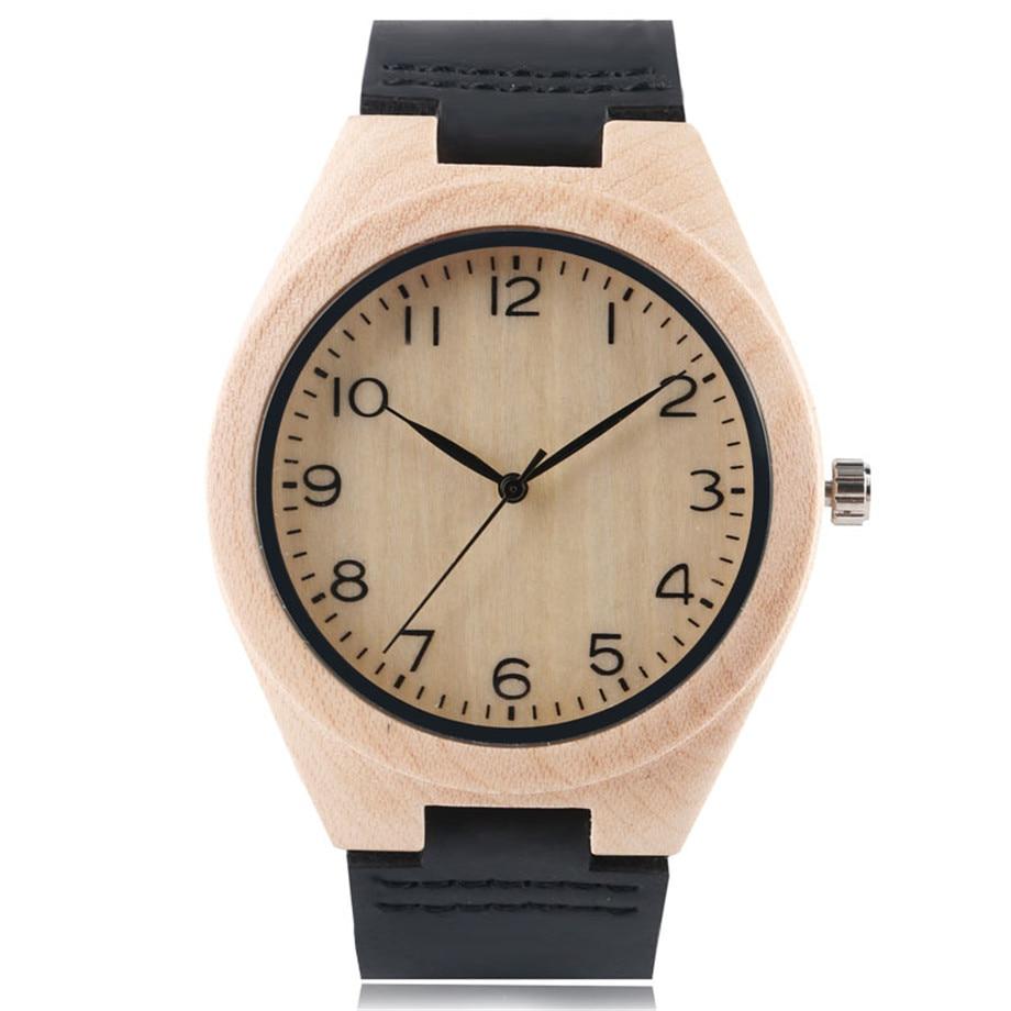 Classic Men Women Bamboo Watch Simple Arabic Number Dials Analog Genuine Leather Strap Casual Male Female Wood Wristwatch Clock тонарм scheu analog scheu classic mkii 10