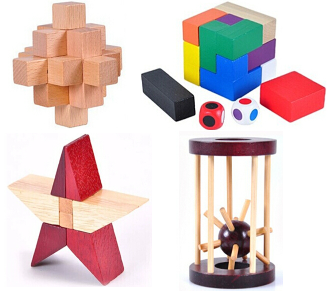 4PCS/Lot IQ Mind Test Brain Teaser 3D Wooden Puzzle Game Toy for Adults and Kids metal puzzle iq mind brain game teaser square educational toy gift for children adult kid game toy