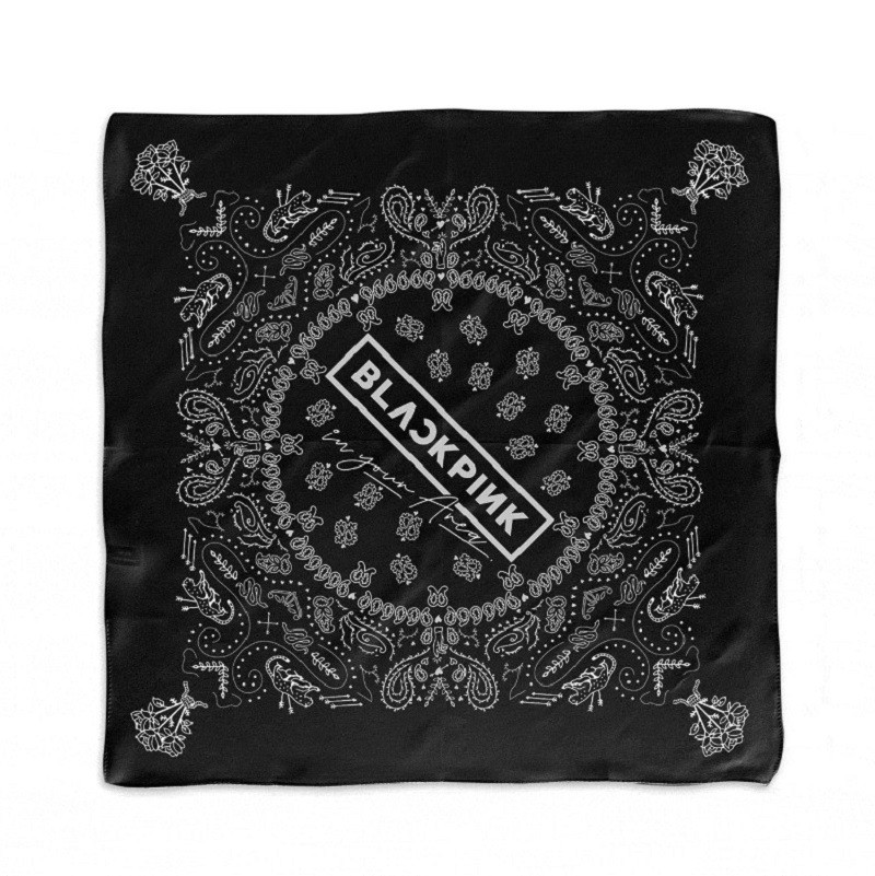KPOP BLACKPINK Bandanna LISA JENNIE JISOO ROSE Same Black Towel Cotton Scarf Hip Hop Headband Hair Band Hand Towel 55*55cm