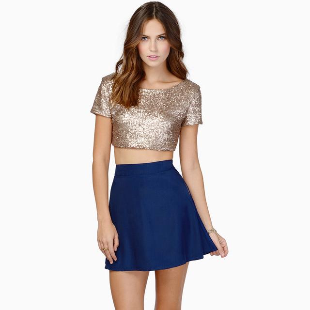 Joven moda lentejuelas tops chicas corta camisa corta ropa en línea negro oro brillante tops [ THDY23g ]