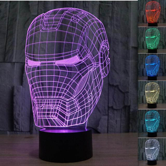 Venta caliente Colorida de Acrílico Visual Tridimensional Lámpara de Mesa Lámpara de Decoración Para El Hogar Creativo Iron Man LED 3D Luz del estado de Ánimo Envío de La Gota