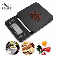 TTLIFE Digital Kitchen Scale Food Coffee Weighing Scale Timer Back Lit LCD Display Baking Cooking 5 Weight Modes Cooking Tool