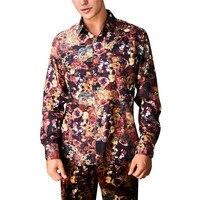YFFUSHI 2018 Latest Skulls Print Men Shirt Long Sleeve Floral Shirts Slim Fit Casual Style Fashion