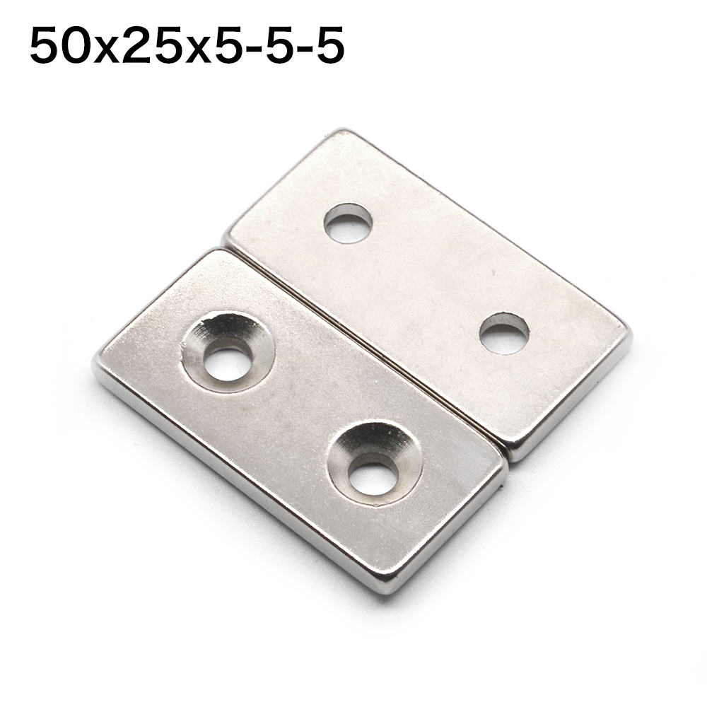 1pcs F50x25x5mm hole 5mm Strong N35 Rare Earth Permanent Neodymium NdFeB Magnet 50*25*5-5-5mm diy 5 x 5mm cylindrical ndfeb magnet silver 20 pcs page 9