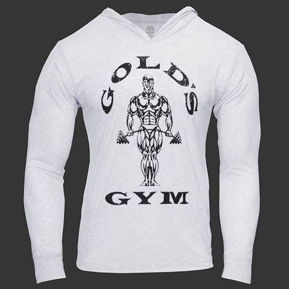Herren Bodybuilding Hoodies Golds Turnhallen Kleidung Workout Slim Fit Sweatshirts Männliche Mit Kapuze Trainingsanzug Jungen Sportswear Baumwolle