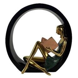 Resina criativa leitura menina estatuetas ornamentos europa senhora mobiliário em miniatura artesanato decoração para casa presentes de aniversário