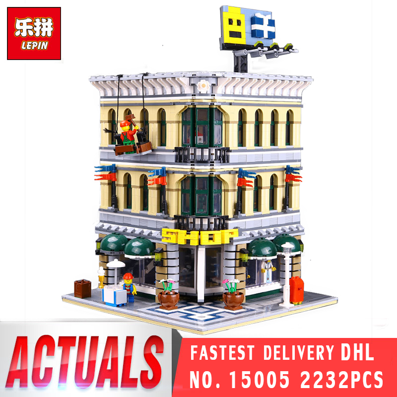 LEPIN 15005 2232Pcs City Grand Emporium Model Building Blocks Kits Brick Toy Compatible with legoing 10211 Birthday Gifts Toys