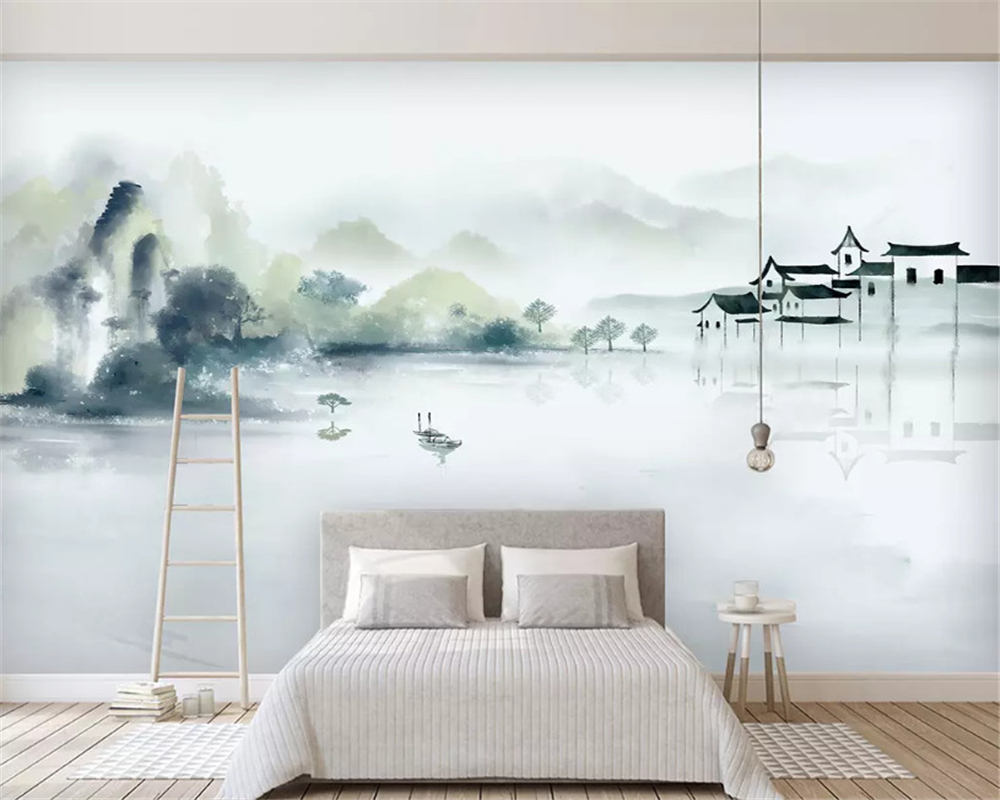 beibehang Customized environmental papel de parede wallpaper new Chinese ink blue abstract line decorative painting background