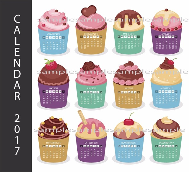 2017 Cupcake Calendar Post Print Pictures Modern Wall Art Printable Living Room Home Decor Hanging Sticker Free Shipping