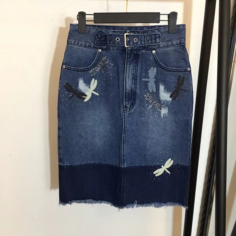 Free Shipping 2018 New Arrival Summer Skirt For Women Affixed Drill Cloth Decoration Color Matching High Waist Denim Skirt