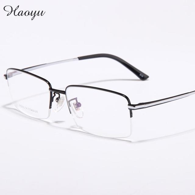 a820a6f83 Haoyu Ultra Leve de Titânio puro Negócio Cara grande óculos de Miopia  Masculinos Óculos de Armação