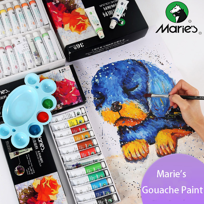 Ali Maries Gouache Paint 5mL 12mL 12/18/24/36 Color DIY Watercolor Pigment Glass Wall Stone Drawing Tool Oil Painting with Brush цена
