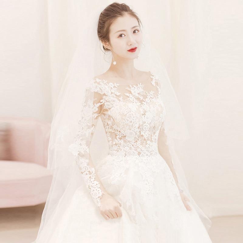 Fairy Petals Air Flared Sleeve Lace Embroidery Summer New Bride Long Sleeve Wedding Dress Vestido De Casamento