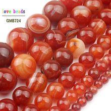 Perles rondes lisses en pierre d'agata, Orange foncé, rouge, pour la fabrication de bijoux, 15.5 pouces, taille 4 6 8 10 12 14mm