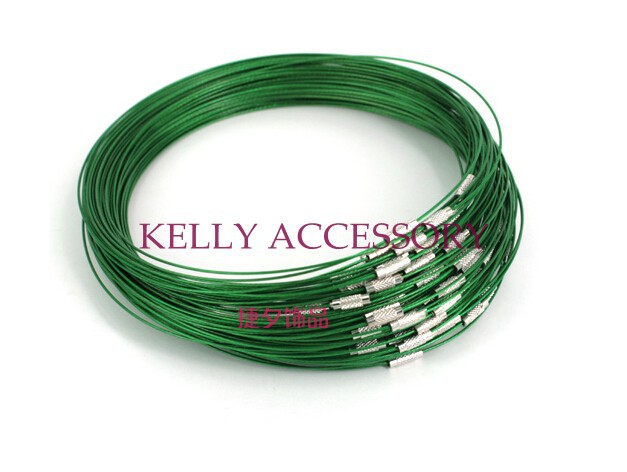 100pcs Dark Green Memory Wire Cable Steel Chain Charms Necklaces 18  Clasp Choker Necklace Jewellery