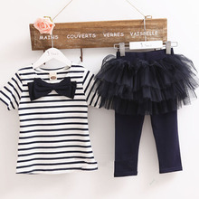 Kid Girl Stripe Bow Top T shirt Tutu Skirt Leggings Culottes 2 pcs Outfit Sets