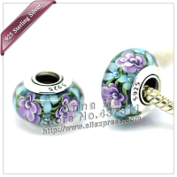 2pcs S925 sterling silver Violet Blue Murano Glass Beads Charms Fit Europe pandora Charm Bracelets necklaces & pendants ZS244