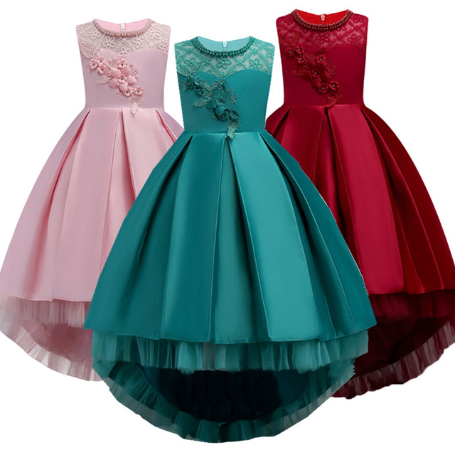 2019 Sale Real Kids Girls Elegant Wedding Flower Girl Dress Princess Party Pageant Formal Long Sleeveless Lace Tulle 2-14 Y