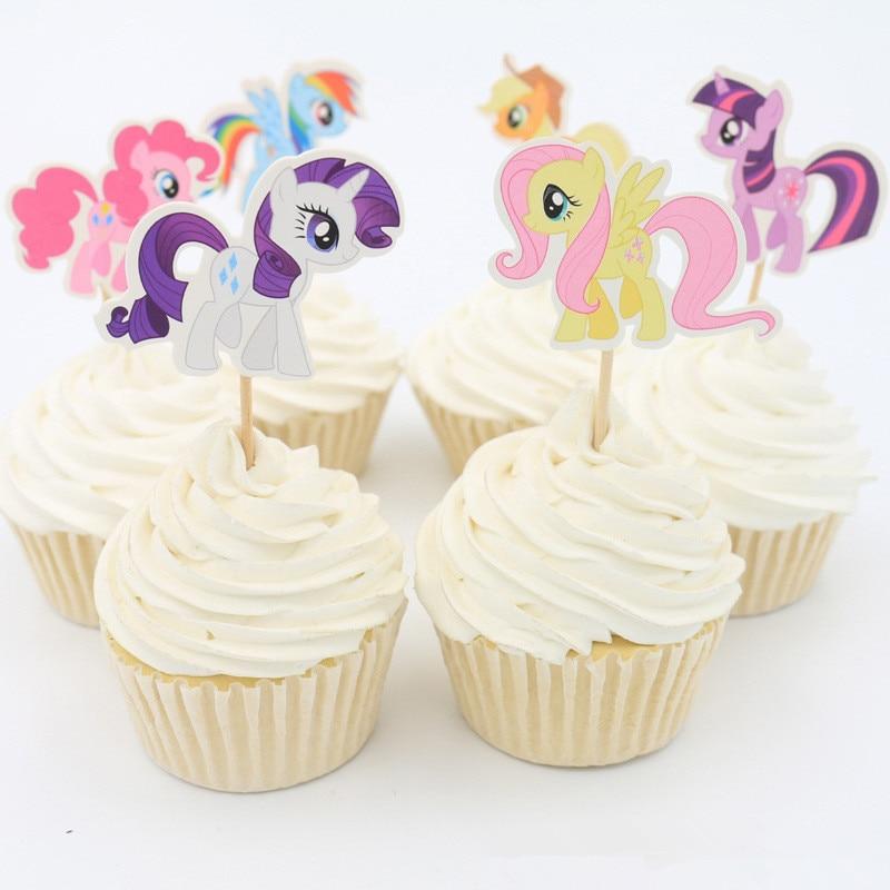 Surprising Cheap 24Pcs Lot 6 Designs My Little Pony Cupcake Topper Picks Funny Birthday Cards Online Kookostrdamsfinfo