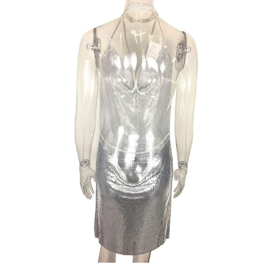 GACVGA 17 Sexy Diamond Halter Metal Party Dresses Gold Silver Summer Dress Vesitos Backless Sequins Women Dress 10