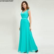Elegant Lace Back Bridesmaid Dresses V Neck Mint Chiffon Long Maid of Honor Gowns