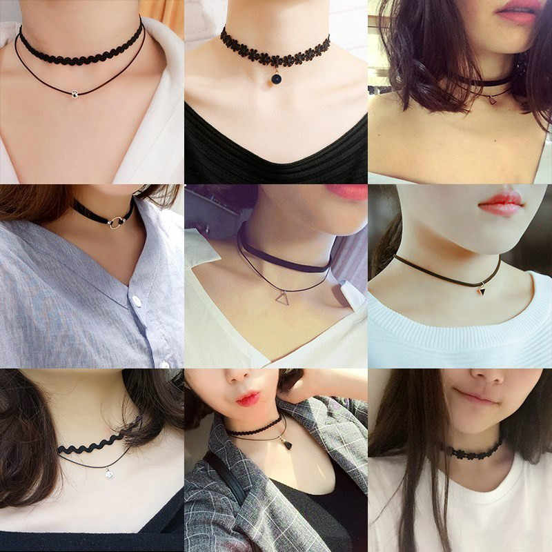 Wholesale New Styles Bijoux Love Vintage Triangle Geometry Tattoo Waterdrop Clavicle Pendant Necklaces For Women Chain Jewelry