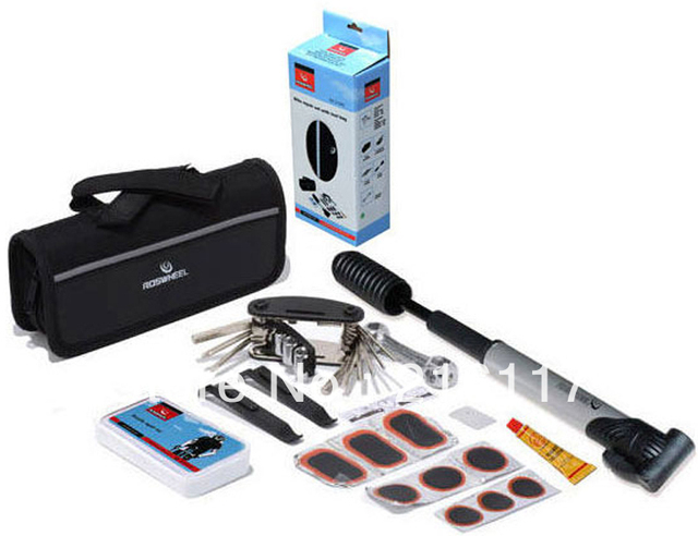 Cycling Bike Repair Set With Tool Bag Bike Bicycle Tyre Repair Multifunctional Tool Set Kit With Mini Portable Pump,Bike Gift