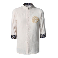 Novelty Beige Chinese Men S Kung Fu Shirt Tops Cotton Linen Blouse Tang Clothing Hot Sale