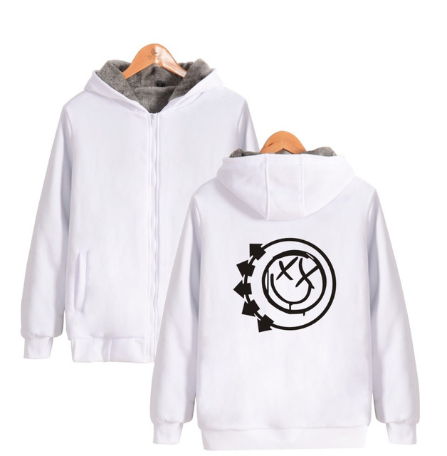 check out 4db59 bb55f US $52.8 |ALIZAZA Blink 182 smiley frau baumwolle fleece pullover verdicken  hoodie sweatshirt mann 4xl reißverschluss in ALIZAZA Blink 182 smiley frau  ...