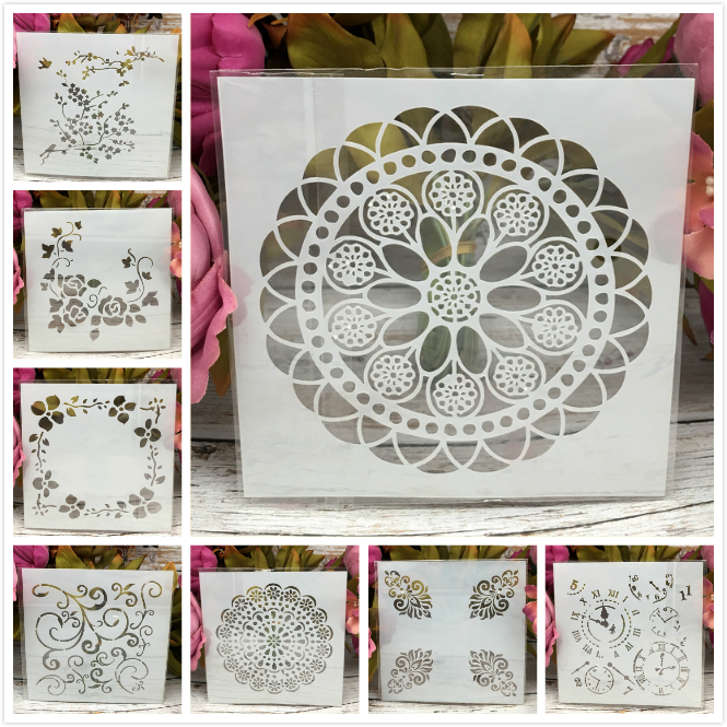 8Pcs/Set 13cm Wheel Clock Bird DIY Layering Stencils Painting Scrapbook Coloring Embossing Album Decorative Card Template