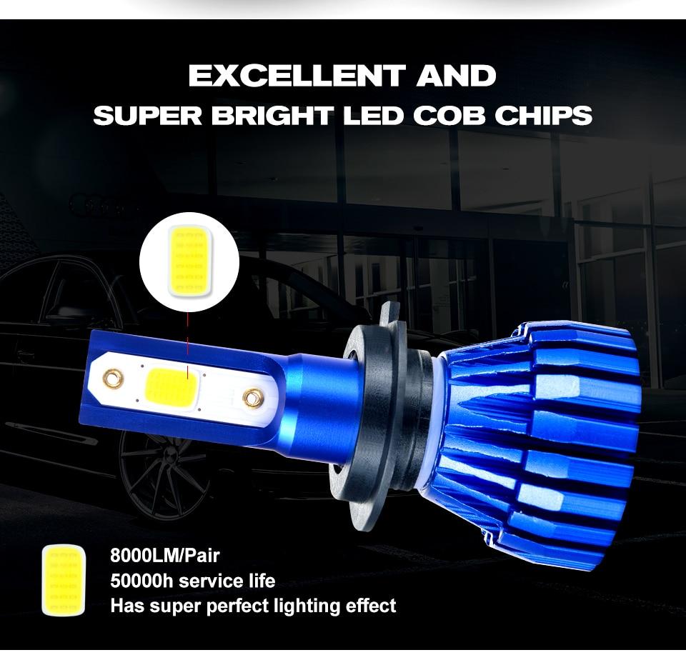 Aceersun 2Pcs 9005 HB3 9006 HB4 H11 H4 H7 Led H1 Auto Car Headlight 72W 8000LM 6500K Automobile Bulb COB CHIP 4300k H3 Fanless (2)