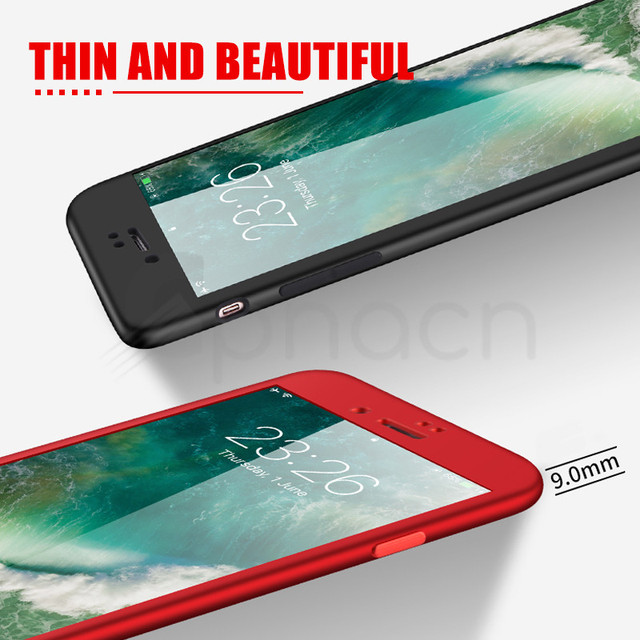 Luxury Soft TPU 360 Full Cover Cases on For iPhone 8 7 6S 6 Plus case 5 5S SE Cover Cases For iPhone X XR XS Max case with glass Phone Fitted Cases