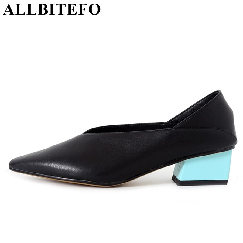 ALLBITEFO fashion brand genuine leather pointed toe thick heel women pumps high heels office ladies shoes girls shoes Sra zapato baoyafang new arrival ladies shoes fashion pointed toe high heels pumps women office shoes 7cm heel sexy girls wedding shoes