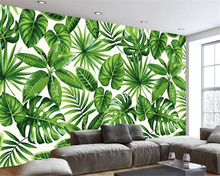 Beibehang Modern fresh rainforest plant banana leaf idyllic murals living room bedroom television background wallpaper