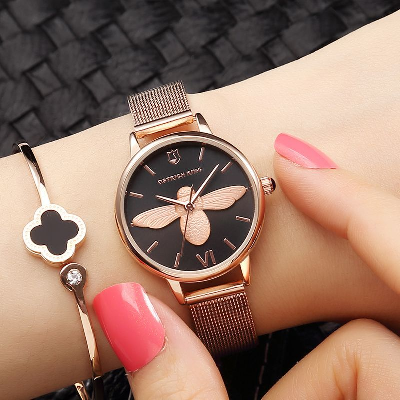 3D Bee Fashion Watches Women Dress Watch Top Brand Rose Gold Wrist Watch For Women Mesh Strap Ladies Clock Woman reloj mujer Hot sk top luxury brand fashion womens watches clock women steel mesh strap rose gold bracelet quartz watch reloj mujer 2017 new hot