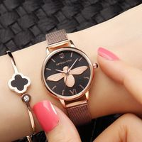3D Bee Fashion Watches Women Dress Watch Top Brand Rose Gold Wrist Watch For Women Mesh Strap Ladies Clock Woman reloj mujer Hot