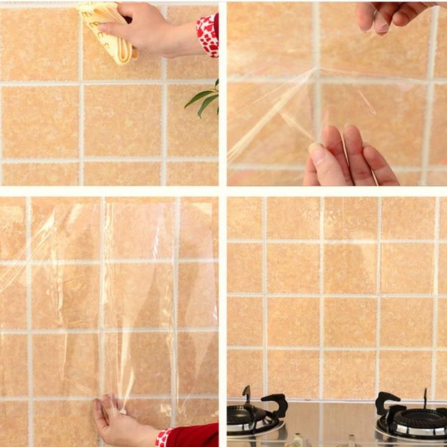 home decor kitchen oil proof wall stickers heat resistant transparent foil fumes wallpaper paste