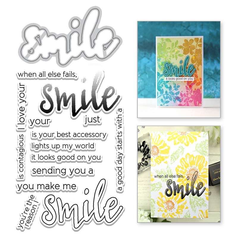 YaMinSanNiO Smile Letter Metal Cutting Dies and Clear Stamps Inspirational Word Scrapbooking For Making Card Album Craft Stencil(China)