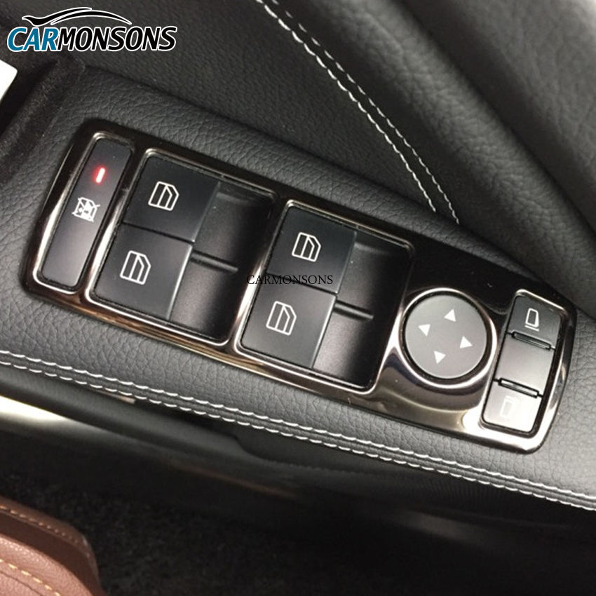 Carmonsons door window lift switch trim cover stickers for for Mercedes benz window switch