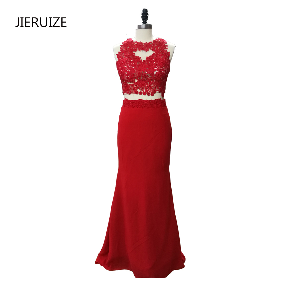 JIERUIZE Red Lace Applqiues Mermaid   Prom     Dresses   Long O-neck Backless Two Pieces   Prom     Dresses   long Party   Dresses   abendkleider