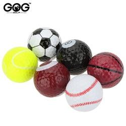 Venta al por mayor pelotas de Golf novedosas de doble Bola de dos piezas equipo de Golf de fútbol baloncesto mesa de béisbol 6 unids/bolsa