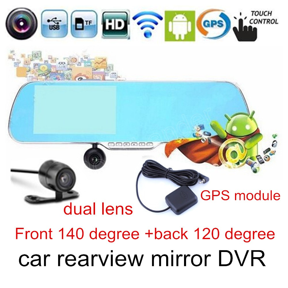 touch screen DVR camera HD Rearview mirror car 5 inch camcorder dual lens for android WIFI GPS navigation module video recorder plusobd best car camera for bmw 5 series e60 e61 rearview mirror camera video recorder automobile car dvr cheapest camcorder