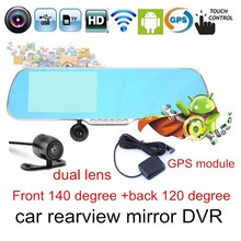 Wholesale prices touch screen DVR camera HD Rearview mirror car 5 inch  camcorder dual lens for android WIFI GPS navigation module video recorder