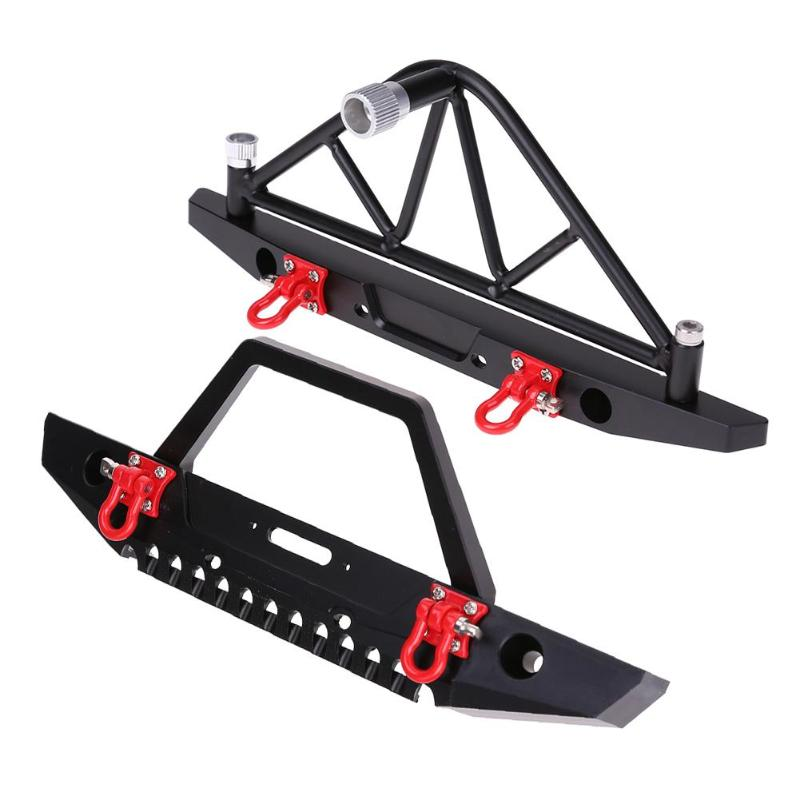 Universal RC Cars Decor Metal Front Rear Bumper with LED Lights for 1/10 Axial SCX10 90046 RC Crawler Car Assemble Accessory professional rc car front bumper with