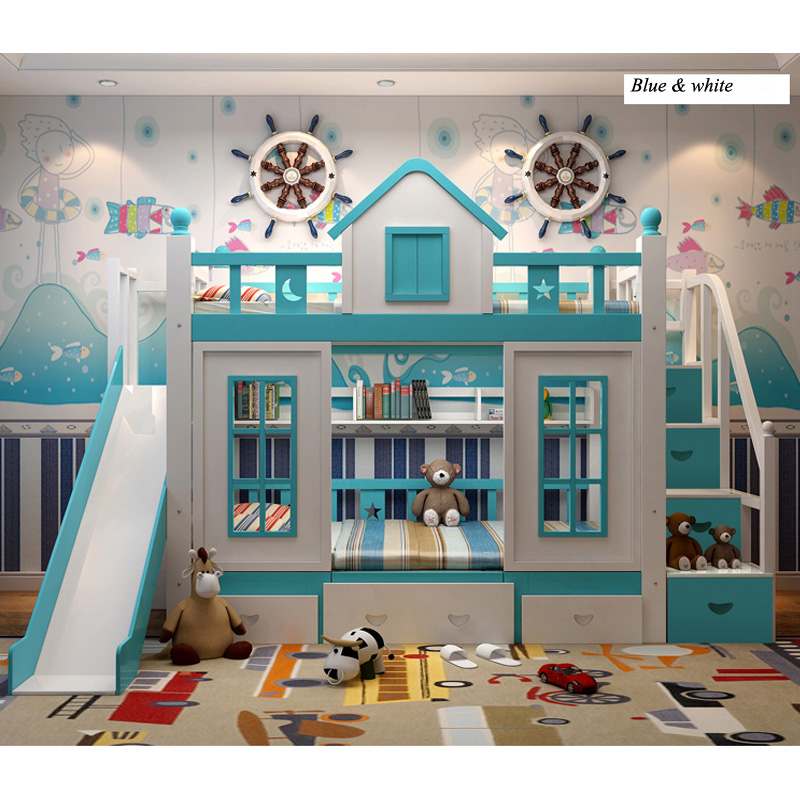 8  0128TB006 Fashionable kids bed room furnishings princess fortress with slide storages cupboard stairs double kids mattress HTB1XsRBo8DH8KJjSspnq6zNAVXaS