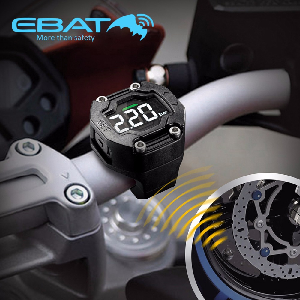 imágenes para EBAT ET-900AE Steelmate TPMS Tire Pressure Monitoring System 2 Sensores Externos para La Motocicleta Impermeable Sin Hilos del LCD Pantalla