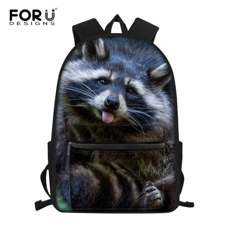 FORUDESIGNS Raccoon Junior High School Backpacks For Girls  Primary Kids Bags Large Capacity School Bags For Children MochilaSchool  Bags